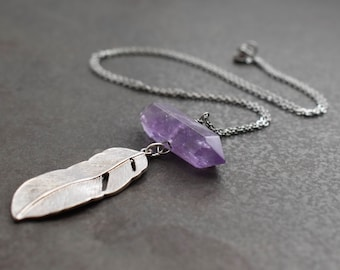Amethyst Crystal Necklace, Feather Necklace, Feather pendant, Amethyst Necklace