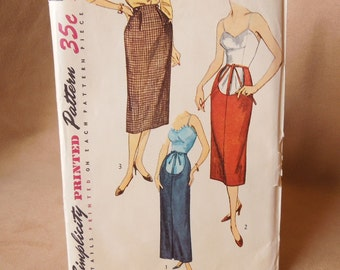 Vintage 50's Maternity Pattern, Simplicity 4004, Pencil Skirt, Waist 24,  Rockabilly Mad MenStyle