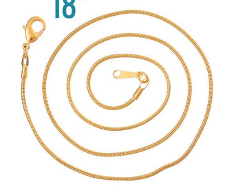 Gold Necklaces Snake Chain  - 1.2mm - 18 inch - 3pcs - Ships IMMEDIATELY  from California - CH348