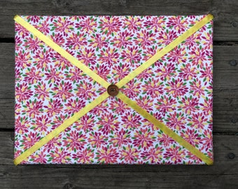 Light Floral Fabric Board w/ Yellow Ribbon (SC)