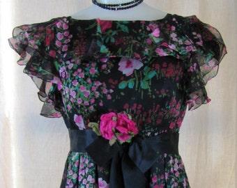 1960'S Kiki Hart Silk Chiffon Maxi Dress, Small, Formal, Maxi, Kiki Hart, Evening Gown, Silk Chiffon, 1960's, 1970's, Black, Floral