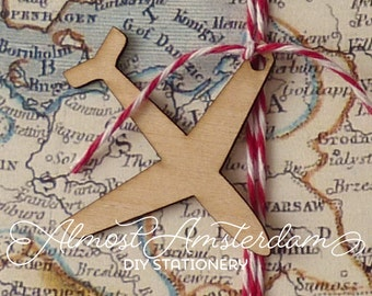 Wooden Airplane/Aeroplane Charms or Decorations for Boarding Pass or Passport Invitations - Please Select Pack Size