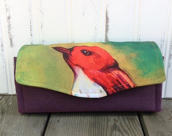 Watercolor Bird Wallet Clutch