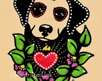 Day of the Dead Dog LABRADOR Dia de los Muertos Art Print 5 x 7, 8 x 10 or 11 x 14 - Choose your own words - Donation to Austin Pets Alive