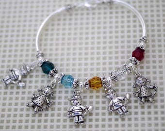 Swarovski Crystal Jewelry -  Mothers or Grandmothers Bracelet - Up To 5 Crystals / Birthstones - Boy and Girl Charms - Silver Only