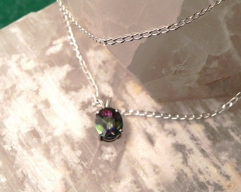 "10x8mm Mystic Topaz & Sterling Silver 18"" Necklace"