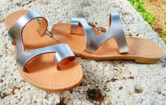 ARIES Elegant Greek Triskelion Women's sandals sandals Leather sandals 80O7qA