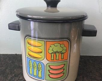 Mid Century Enamel Vegetable Steamer Pot