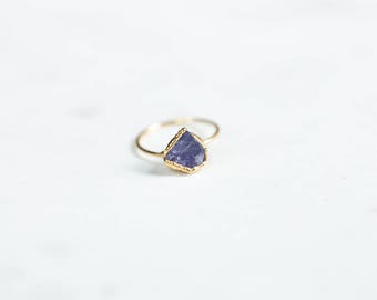 Raw Tanzanite Ring, Gold Ring, Rough Gemstone Ring, Boho Ring, Raw Crystal Ring, December Birthstone, Raw Stone Ring, Statement Ring, Women