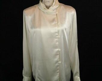 Asymmetrical Vintage Button-up High Neck Silky Blouse