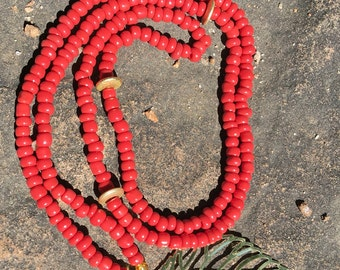 Red Beaded Leaf Necklace