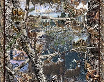 RealTree Cotton Winter Panel-Realtree Camo Cotton Panel-Sold By the Panel-100% Cotton