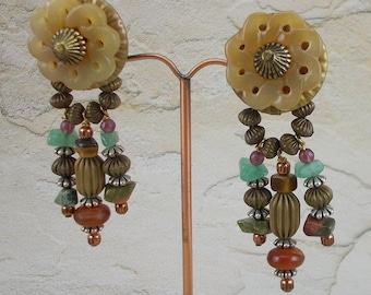 Outstanding Vintage Large Artisan Carved Stone, Stone and Brass Mixed Bead Dangle Clip Earrings