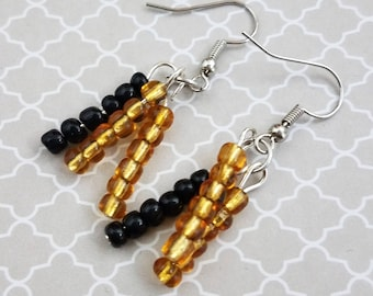 Handmade Black & Gold Earrings with Two Strands of Gold Seed Beads and One Strand of Black Seed Beads Dangling on Nickel Free Fish Hooks