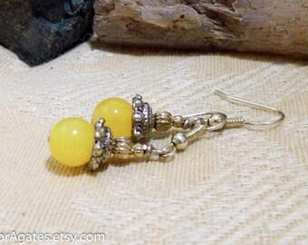 Yellow Quartz Silver Dangle Earrings