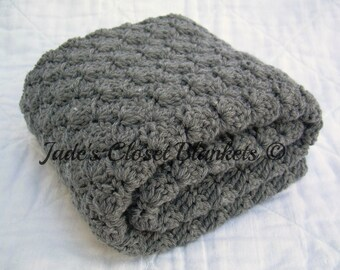 Crochet Baby Blanket, Baby Blanket, Crochet Grey Baby Blanket, Crochet Gray Baby Blanket, Slate Grey, Gray, travel, stroller size