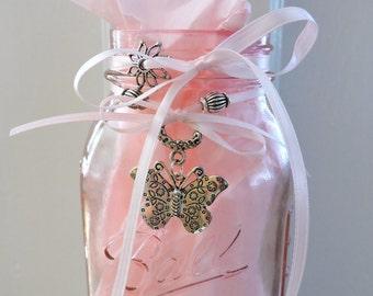 Teen Room Decor | Pink Mason Jar | Pink Bedroom Decor | Butterfly Mason Jar | Sweet 16 | Butterfly Charms | Teen Gifts | Teenage Girls Decor