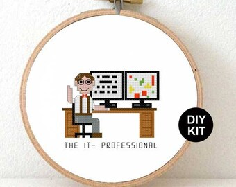 Cross Stitch Kit IT Professional. Male and female IT consultant gift ideas embroidery kit. Modern cross stitch kit including embroidery hoop
