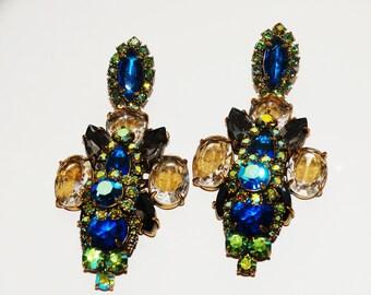 Designer Signed Large Brass Rhinestone Earrings.