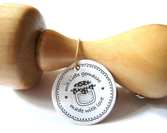 Stamp made with love with love made jam jar