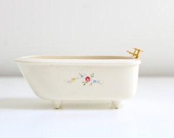 Miniature Bathtub, Dollhouse Bathtub, Miniature Claw Foot Tub, Dollhouse Claw Foot Tub, Floral Bathtub Dollhouse Bathroom Miniature Bathroom