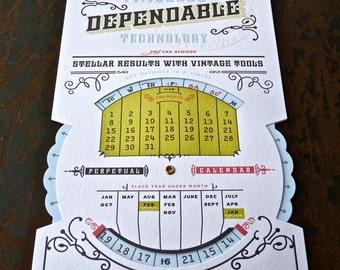 Perpetual Calendar Letterpress Printed