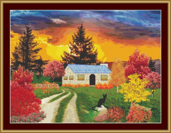 Cat In The Fall Cross Stitch Pattern /Digital PDF Files /Instant downloadable