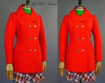 Bright Orange Peacoat S Vintage 1960s Mod Day Glo Wool Jacket ~ Montaldo's
