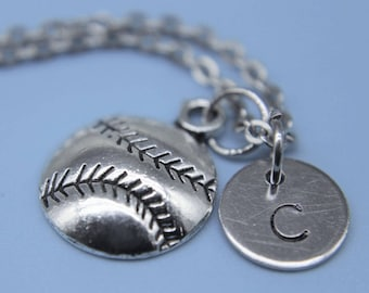 Softball Necklace Silver Softball Charm Necklace Softball Pendant Personalized Necklace  Initial Necklac Softball Gift Baseball Charm