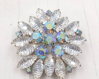 Rhinestone Snowflake Brooch with Molded Art Glass and Aurora Borealis Rhinestones, 1950's Vintage Pin w Tiered Construction Prong Set Stones