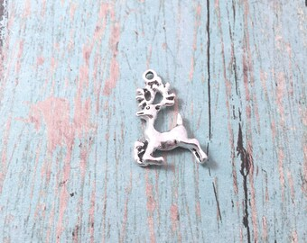 6 Reindeer charms (2 sided) silver tone - silver deer pendants, holiday charms, Christmas charms, forest charms, reindeer pendants, BX35