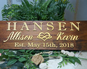 Last Name Sign, Established Sign, Personalized Wedding / Anniversary Gift, Housewarming Gift, Gift for Couple. Wooden Wall Decor, 3D