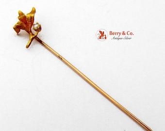 SaLe! sALe! Vintage Foliate 10 K Gold Stick Pin
