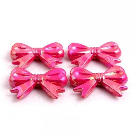 MajorCrafts® 4pcs Hot Pink AB 46*36mm Large Chunky Acrylic Embellishment Bows C4