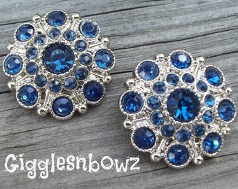 NEW Set of Two LIMITED EDITION Dark Blue Acrylic Rhinestone Buttons 27mm