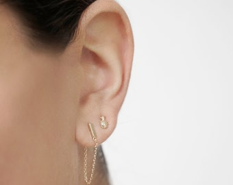 Chain earrings - Gold plated chain earrings - Minimal earrings - Dainty earrings - Minimal jewelry - Dainty jewelry