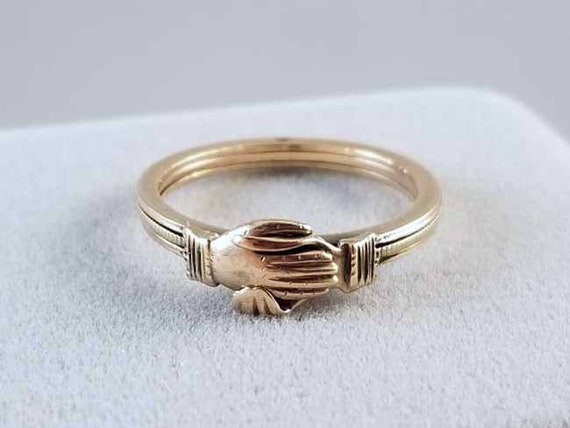 Very Rare antique Victorian 14k gold fede gimmel clasped hands and heart ring size 5-3/4 engraved Christmas from Mother Dec. 25 1873