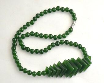 "Diamond Green Jade Strand Beads Charm 16mmx6mm beads Gemstone Beads One strand 17"" One Full Strand Jade Jewelry"