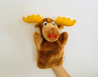 Swedish Christmas Moose toy hand puppet stuffed animal - Scandinavian childrens toy