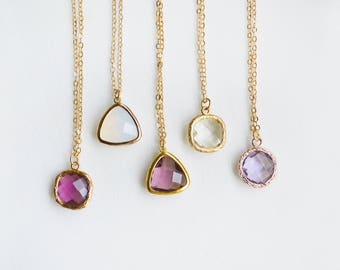 Crystal Necklace, Dainty Necklace Gold, Layering Necklace, Simple Gemstone Necklace, Dainty Gold Necklace, Delicate Necklace, Charm Necklace