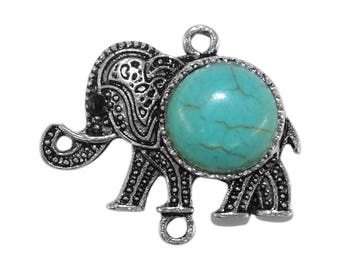 Connector elephant antique silver with a turquoise co061