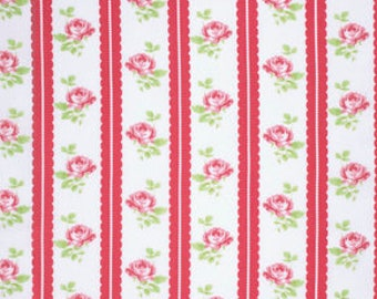 SALE! Red Lilah - Lulu Roses Collection - Tanya Whelan - Free Spirit Fabric - Shabby Chic Fabric - Lulu Roses Fabrics - Tanya Whelan Fabrics