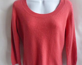 100% Cashmere Sweater Size S Salmon Pink Coral Scoop Neck Womens Jumper 38 Chest