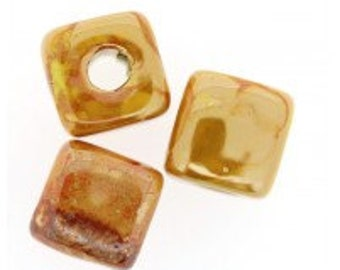Yellow Ceramic Cube Bead with Enamel