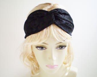 Black Turban Headband, Black Twist Headband, Elegant Black Headband, Black Brocade Headband, Black Twisted Headband