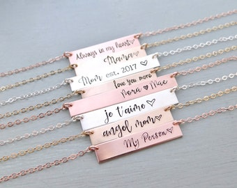Personalized Bar Necklace. Calligraphy Font Hand Stamped Custom Name Bar Necklace. Mother's Gold Bar Necklace. Hand Lettering Font. Script.