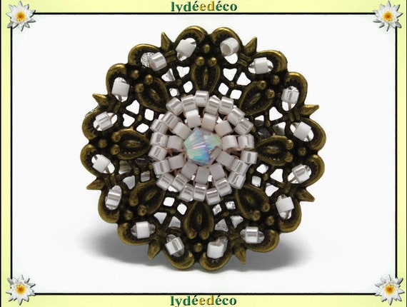 Japanese white pastel glass 25mm bronze beads charm retro vintage adjustable flower ring