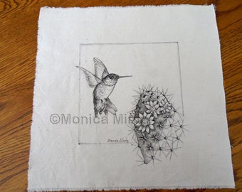 Pen & Ink on Fabric Original Drawing Quilt Square by Monica Minto hummingbird and cactus