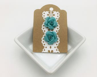 Teal Paper Rose Stud Earrings