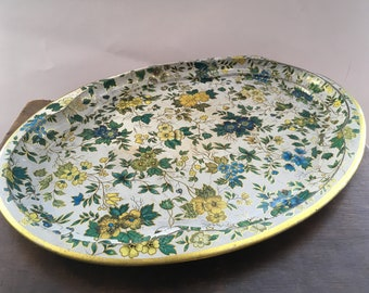 Vintage Multicolored large tray Big Floral tin tray made in England by Daher Oversized tin tray